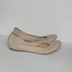 J Crew Cece Nude Leather Ballet Flats Women's 8.5